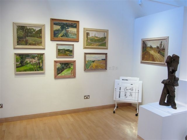 Alan Thornhill\'s paintings at Stroud Museum at an exhibition in 2012.