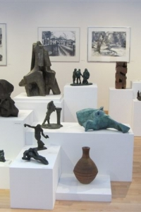 Alan Thornhill\'s drawings at Stroud Museum at an exhibition in 2012.