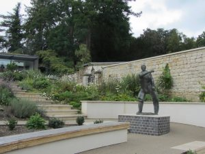 Alan Thornhill's sculptures, Summoner and Punch & Judy at Museum in the Park, Stroud, Glos.