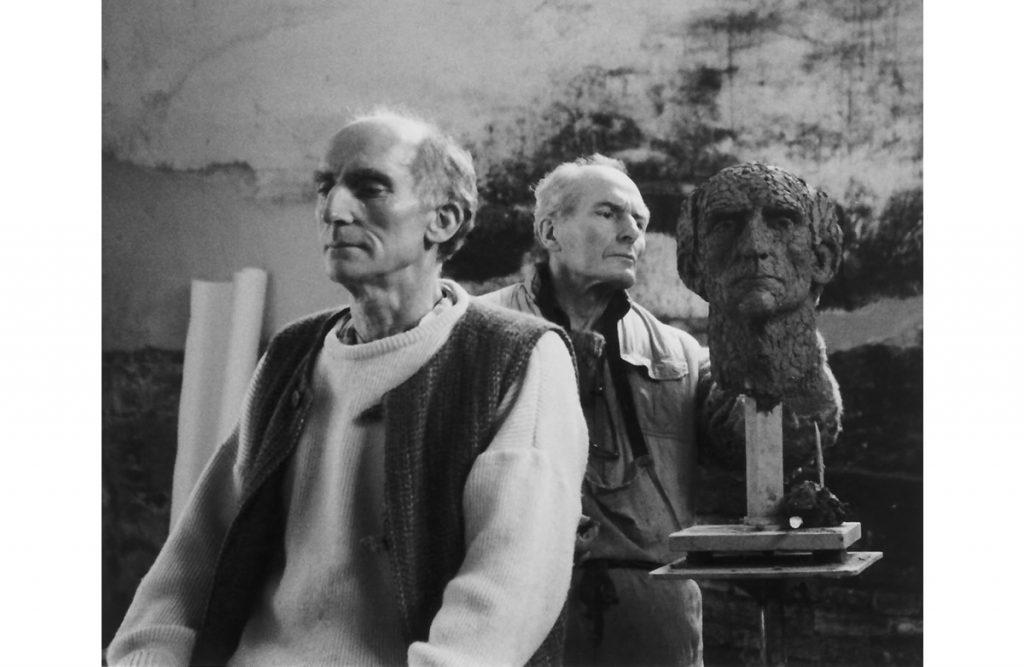 Alan Thornhill creating a portrait head in his studio.
