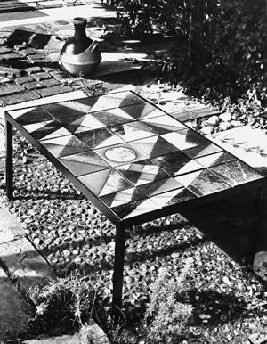 Ceramic table.